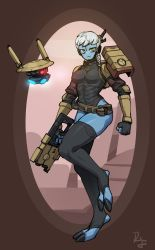 1girl, 1other, :<, alien, armor, backpack, bag, belt, belt pouch, black legwear, black leotard, black nails, blue skin, braid, breastplate, breasts, claws, clenched hand, colored skin, covered abs, difmanm, digitigrade, drone, energy gun, facial mark, fewer digits, forehead mark, frown, full body, gun, handcannon, headgear, highres, holding, holding gun, holding weapon, leotard, long legs, loose belt, medium breasts, nail polish, no nose, pouch, science fiction, short hair, shrug (clothing), side braid, single pauldron, solo focus, stirrup legwear, tau, tau drone, thick thighs, thighhighs, thighs, toeless legwear, vambraces, warhammer 40k, weapon, white hair, wide hips