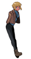 1girl, apex legends, arms behind back, black pants, blonde hair, blue eyes, blue sweater, breasts, bright pupils, brown jacket, full body, hair behind ear, highres, husagin, jacket, jewelry, leaning forward, medium breasts, necklace, pants, ribbed sweater, short hair, smile, solo, sweater, wattson (apex legends), white pupils