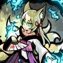 1girl, blue fire, fire, fox, highres, mon-musu quest!, multiple tails, tail, tamamo (mon-musu quest!)