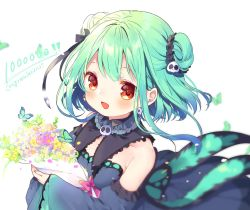 !!, aqua hair, bangs, blue dress, blue sleeves, blush, bouquet, bow, bug, butterfly, collar, congratulations, detached collar, detached sleeves, double bun, dress, earrings, echigo shukura, flower, frilled collar, frilled dress, frills, gradient dress, hair ornament, hair ribbon, highres, holding, holding bouquet, hololive, insect, jewelry, open mouth, pink bow, red eyes, ribbon, short dress, short hair, sidelocks, skull earrings, skull hair ornament, smile, strapless, strapless dress, uruha rushia, virtual youtuber, wide sleeves