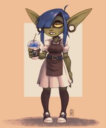 1girl, 2021, ahoge, apron, arm at side, bared teeth, barista, belt, black legwear, blue footwear, blue hair, blue nails, brown apron, coffee cup, colored sclera, colored skin, commentary, constricted pupils, contemporary, cup, disposable cup, dress, dungeons and dragons, english commentary, female goblin, fewer digits, fingernails, frappuccino, goblin, green skin, hair over one eye, highres, hipster, jitome, long pointy ears, nail polish, outdoors, over-kneehighs, plug (piercing), pointy ears, sharp fingernails, sharp teeth, shoes, short hair, sidelocks, signature, sneakers, solo, standing, teeth, thick eyebrows, thighhighs, uri venom, white dress, yellow sclera