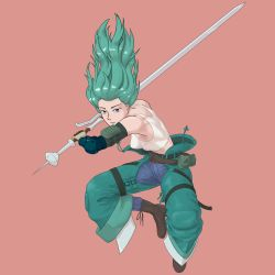 1girl, absurdres, armor, belt, boots, breasts, denim, gloves, green hair, highres, jeans, looking at viewer, musc, original, pants, pink background, pouch, simple background, small breasts, sword, tank top, weapon