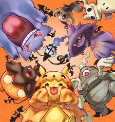 4o080 yotabnc, chandelure, cloak, commentary request, creatures (company), dusclops, fangs, game freak, gen 1 pokemon, gen 3 pokemon, gen 4 pokemon, gen 5 pokemon, gen 6 pokemon, gen 7 pokemon, gengar, halloween, highres, hood, hood up, hooded cloak, mimikyu, mismagius, nintendo, open mouth, orange background, orange cloak, phantump, pikachu, pokemon, pokemon (creature), pumpkaboo, red eyes, sleeves past wrists, teeth, tongue, tongue out, zubat