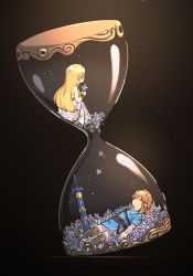 1boy, 1girl, bangs, belt, blonde hair, blue shirt, boots, brown belt, closed mouth, commentary request, dark background, dress, flower, from side, full body, grey footwear, hair between eyes, hair ornament, holding, holding flower, hourglass, light, light particles, link, long hair, long sleeves, lying, master sword, nintendo, off-shoulder dress, off shoulder, on back, pants, princess zelda, sheath, sheathed, shirt, sidelocks, simple background, sitting, sleeping, sword, the legend of zelda, the legend of zelda: breath of the wild, weapon, werlosk, white dress, white flower