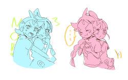 ..., 1boy, 1girl, ^^^, antenna hair, blush, braid, chloe (pokemon), creatures (company), eyes closed, game freak, gen 4 pokemon, goh (pokemon), hatsu8282, holding, holding phone, hug, hug from behind, long braid, long hair, looking at viewer, nintendo, no legs, open mouth, partially colored, phone, pokemon, pokemon (anime), pokemon swsh (anime), rotom, rotom phone, sailor uniform, shirt, short hair, side braid, spoken ellipsis, upper body, white background