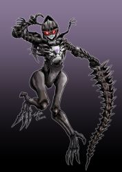 1girl, beast wars, clenched teeth, dinosaur, fossil, goggles, highres, holding, holding sword, holding weapon, long fingers, long toes, oohara tetsuya, pose, predacon, purple background, red eyes, sharp teeth, signature, skeletal arm, skeletal hand, skeletal tail, spikes, sword, teeth, thick thighs, thighs, transformers, transformers: war for cybertron trilogy, vertebreak, weapon