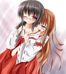 Rule 34 | 2girls, highres, japanese clothes, miko, multiple girls, original, undressing, yuri