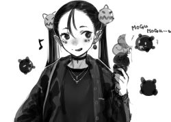 +++, 1girl, :q, blush, bright pupils, choker, creature, cross, cross choker, cross necklace, earrings, greyscale, haguhagu (rinjuu circus), hair between eyes, hair ornament, hand up, holding, ice cream cone, jacket, jewelry, long sleeves, looking to the side, monochrome, necklace, open clothes, open jacket, original, pointy ears, purple-haired loli (haguhagu), shirt, simple background, slit pupils, smile, solo, tongue, tongue out, twintails, upper body, white background