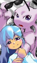 1girl, ambertwo (pokemon), blush, creatures (company), dress, game freak, gen 1 pokemon, green hair, holding, holding another's arm, holding eyewear, legendary pokemon, long hair, long sleeves, looking at viewer, mewtwo, nintendo, open mouth, pokemon, pokemon (anime), portrait, purple eyes, shiny, shiny hair, simple background, smile, sunglasses, tears, teeth, white dress