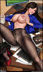 Rule 34 | 1girl, absurdres, alcohol, aroma sensei, artist name, biting, black hair, black legwear, blue shirt, blush, box, box of chocolates, breast grab, breasts, brown eyes, chocolate, colored skin, final fantasy, final fantasy vii, final fantasy vii remake, glass, glass bottle, grabbing, highres, huge breasts, lip biting, long hair, looking at viewer, monitor, mouse (computer), mousepad (object), naughty face, nipples, office, open clothes, panties, pantyhose, paper, pen, pencil, red footwear, shirt, solo, spread legs, table, tifa lockhart, underwear, veins, veiny breasts, whiskey, white skin, wooden floor, wooden table