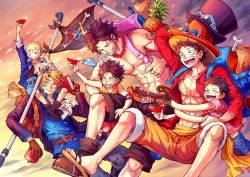 6+boys, :d, abs, aokamei, apple, belt, black coat, black hair, black shorts, blush, brothers, buzz cut, child, coat, cup, denim, facial scar, feet out of frame, flag, food, freckles, fruit, hat, hug, jeans, male focus, monkey d luffy, multiple boys, muscular, muscular male, navel, one piece, open clothes, open coat, open mouth, open shirt, orange shorts, pants, pectorals, pineapple, pipe, portgas d ace, sabo (one piece), sakazuki, sandals, scar, scar across eye, scar on cheek, scar on chest, scar on face, shirtless, short hair, shorts, siblings, smile, straw hat, very short hair, younger