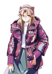 1girl, alternate eye color, automatic giraffe, beanie, bespectacled, black-framed eyewear, brown hair, commentary, contemporary, earrings, english commentary, flat chest, glasses, green skirt, hat, hood, hood down, hooded jacket, jacket, jewelry, long hair, long skirt, nintendo, pointy ears, princess zelda, puffer jacket, red eyes, shiny, shiny clothes, skirt, solo, standing, sweater, the legend of zelda, the legend of zelda: a link between worlds, thumb in pocket, triangle earrings, turtleneck, turtleneck sweater, unzipped, white background, white sweater