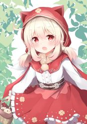 1girl, :o, ahoge, animal ears, bangs, basket, blonde hair, blush, cape, commentary, cosplay, eyebrows visible through hair, fake animal ears, genshin impact, highres, holding, holding basket, hood, hood up, hooded cape, klee (genshin impact), leaf, little red riding hood, little red riding hood (grimm), little red riding hood (grimm) (cosplay), long sleeves, looking at viewer, pointy ears, red cape, red eyes, red hood, red skirt, shirt, short twintails, sidelocks, skirt, solo, tutsucha illust, twintails, white shirt