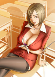Rule 34 | 1girl, black garter straps, black legwear, bob cut, bra, bra peek, breasts, brown eyes, brown hair, business suit, chair, classroom, classroom desk, cleavage, collarbone, cover, cover page, desk, dress, formal, garter straps, huge breasts, jacket, jewelry, lace, lace-trimmed legwear, lace trim, legs crossed, lips, lipstick, looking at viewer, makeup, matching hair/eyes, microdress, microskirt, minidress, miniskirt, nagumo kyouko, necklace, novel, parted lips, pencil skirt, pointer, purple bra, red dress, school, school chair, school desk, shiny, shiny skin, shirt, shirt collar, short hair, sitting, skirt, skirt suit, sleeves folded up, solo, suit, sunlight, tatsunami youtoku, teacher, teeth, thighhighs, tied shirt, underwear, yuuwaku no onna kyoushi