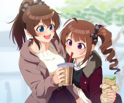 2girls, ahoge, belt, black belt, black ribbon, black sweater, blurry, blurry background, brown hair, bubble tea, closed mouth, coat, commentary, cup, day, disposable cup, dress shirt, drill hair, drinking, earrings, eyebrows visible through hair, food, fur-trimmed coat, fur trim, grey coat, hair ribbon, high-waist skirt, holding, holding food, idolmaster, idolmaster million live!, jewelry, kamille (vcx68), leaning forward, long sleeves, looking at another, medium hair, multiple girls, open clothes, open coat, open mouth, outdoors, pleated skirt, ponytail, purple eyes, red coat, red skirt, ribbon, satake minako, sharing food, shirt, side drill, side ponytail, skirt, smile, standing, sweater, white shirt, white skirt, white sweater, wing collar, yokoyama nao