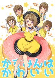 1girl, :d, bare legs, baton, belt, bespectacled, black belt, black footwear, blue neckwear, blue shirt, blush, bob cut, breasts, brown hair, buttons, check translation, commentary, doughnut, dress, eyebrows visible through hair, fingers to cheeks, food, full body, glasses, gloves, grimace, hat, hat ribbon, high heels, highres, holding, hood, hoodie, koto (colorcube), love live!, love live! nijigasaki high school idol club, medium breasts, multiple views, nakasu kasumi, neck ribbon, open mouth, oversized food, plaid, plaid skirt, polka dot, purple eyes, ribbon, shaded face, shiny, shiny hair, shirt, short hair, short sleeves, simple background, sitting, sitting on food, skirt, smile, smirk, square mouth, star (symbol), sweat, top hat, translation request, triangle hair ornament, upper body, upper teeth, vest, white background, white gloves, white ribbon, yellow dress, yellow headwear, yellow hoodie, yellow vest