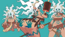Rule 34 | 1girl, angry, aqua background, ass, back tattoo, barefoot, bodypaint, bone hair ornament, boned meat, breast tattoo, breasts, caveman, character request, claws, cleavage, commentary, copyright request, dark skin, dark skinned female, domino mask, dual wielding, earrings, facepaint, facial tattoo, fingernails, food, from behind, gashi-gashi, groin, hair between eyes, hair ornament, highres, holding, holding weapon, hoop earrings, jewelry, large breasts, leg tattoo, long fingernails, long hair, long toenails, looking at viewer, looking back, mask, meat, messy hair, midriff, multiple views, navel, neck ring, no panties, partially visible vulva, pointy ears, polearm, profile, pubic hair, revealing clothes, sharp teeth, simple background, squatting, standing, symbol commentary, tall female, tattoo, teeth, thigh tattoo, toenails, underboob, upper teeth, weapon, white hair