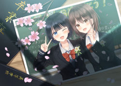 2girls, arm up, black hair, black jacket, blazer, blue eyes, blush, board eraser, bob cut, bow, bowtie, brown eyes, brown hair, chalkboard, cherry blossoms, commentary, corsage, crying, crying with eyes open, desk, eyebrows visible through hair, flower, highres, jacket, long sleeves, looking at viewer, multiple girls, one eye closed, open mouth, original, petals, photo (object), red neckwear, school uniform, senri (senri sen), shadow, short hair, tears, translation request, uniform, upper body, v, white flower, yearbook