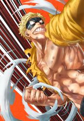 1boy, 4o080 yotabnc, action, blonde hair, boku no hero academia, bruise, clenched teeth, commentary request, domino mask, highres, hood, hoodie, injury, jacket, male focus, mask, muscular, muscular male, orange background, solo, teeth, torn clothes, torn jacket, toyomitsu taishiro, visible air, yellow jacket, zipper