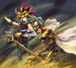2boys, armor, belt, black hair, blonde hair, brown eyes, cape, card, chains, choker, commentary, dark skin, dark skinned male, deadspike nine, duel disk, duel monster, feet out of frame, gold armor, holding, holding card, holding staff, jacket, jacket on shoulders, long hair, mahado, male focus, millennium puzzle, multicolored hair, multiple belts, multiple boys, outstretched arm, palladium oracle mahad, purple eyes, purple hair, school uniform, shoulder armor, spiked hair, staff, vambraces, wind, yami yuugi, yu-gi-oh!, yu-gi-oh! the dark side of dimensions