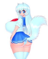 Rule 34   1girl, absurdres, akiranime, animal ears, animal tail, aqua hair, ass, blue eyes, blue sailor collar, breasts, bursting, bursting breasts, bursting cleavage, butt crack, cleavage, contrapposto, covered erect nipples, curvy, curvy hips, dot nose, eyebrows behind hair, eyebrows visible through hair, eyelashes, eyes behind hair, eyes visible through hair, facing back, facing viewer, feet out of frame, female focus, from behind, head turn, highres, huge ass, huge breasts, huge cleavage, huge nipples, legwear, long hair, long tail, looking at viewer, looking back, microskirt, miniskirt, neckerchief, neko-chan (akiranime), nipples, original, out of frame, panties, pantyshot, pleated skirt, red neckwear, rolled up sleeves, sailor collar, school uniform, serafuku, sideboob, simple background, skirt, skirt lift, small mouth, solo, tail, thighhighs, underwear, very long hair, white background, white legwear, white panties
