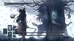 3girls, absurdres, aura, bandage, bandaged arm, bandages, black hair, black ribbon, blue kimono, boss, bow, breasts, bug, butterfly, cherry blossoms, chinese commentary, cleavage, commentary, dark souls i, dated, detached sleeves, dual wielding, eyes in shadow, faceless, faceless female, feet out of frame, floating, frilled skirt, frilled sleeves, frills, from behind, ghost, glowing, gohei, green skirt, green vest, hair ribbon, hairband, hakugyokurou, hakurei reimu, hands, hat, health bar, highres, hitodama, holding, icon, insect, japanese clothes, kimono, konpaku youmu, konpaku youmu (ghost), long hair, long skirt, mob cap, monster girl, multiple girls, multiple hands, muted color, neckerchief, no eyes, obi, open mouth, orb, outstretched hand, pale color, parody, petals, pile of skulls, pink butterfly, pink hair, red bow, red sash, ribbon, royl, saigyou ayakashi, saigyouji yuyuko, sash, scabbard, sharp teeth, sheath, skirt, skirt set, skull, souls (series), sword, teeth, torii, touhou, tree, triangular headpiece, unsheathed, user interface, veil, vest, walking, weapon, white background, white neckwear, wide sleeves, yin yang, yin yang orb