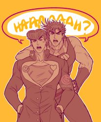 2boys, adapted uniform, anchor symbol, anger vein, artist name, buttons, catneylang, collarbone, commentary, earrings, english commentary, father and son, fingerless gloves, furrowed eyebrows, gakuran, gloves, hand on hip, hands in pockets, heart, higashikata josuke, high collar, highres, jewelry, jojo no kimyou na bouken, joseph joestar (young), leaning on person, long sleeves, looking at viewer, male focus, monochrome, multiple boys, multiple sources, muscular, muscular male, open mouth, outline, peace symbol, pompadour, raised eyebrow, scarf, school uniform, shared speech bubble, short hair, simple background, sleeveless, speech bubble, striped, striped scarf, stud earrings, time paradox, watermark, white outline, yellow background, zipper