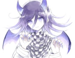 1boy, 8takenokonosato8, bangs, checkered, checkered scarf, danganronpa (series), danganronpa v3: killing harmony, demon boy, eyebrows visible through hair, fang, fang out, fingernails, hair between eyes, hands up, horns, jacket, long hair, long sleeves, looking at viewer, male focus, nail polish, ouma kokichi, purple eyes, purple hair, purple horns, purple nails, scarf, short hair, simple background, smile, solo, symbol commentary, upper body, white background, wings