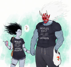 1boy, 1girl, 7-eleven, bag, bare legs, black hair, black shirt, cellphone, colored skin, dead by daylight, denim, denim shorts, fangs, floating hair, food, ghost, grandfather and granddaughter, grey skin, hand holding, handbag, highres, horns, ice cream, ice cream cone, injury, long hair, looking at another, muscular, muscular male, oni, oni horns, oni mask, pants, phone, plastic bag, scar, shards, shirt, short sleeves, shorts, simple background, smile, spirit, standing, sweatpants, t-shirt, the spirit, theslowesthnery, thighs, white eyes, white hair, white horns, white text, yamaoka kazan, yamaoka rin