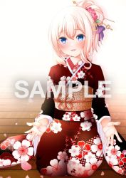 1girl, alternate costume, alternate hairstyle, azur lane, bangs, blonde hair, blue eyes, blush, commentary request, commission, face, floor, floral print, flower, hair between eyes, hair bun, hair flower, hair ornament, hairpin, japanese clothes, leander (azur lane), long hair, open mouth, origami aya, outstretched hand, sample, seiza, sitting, skeb commission, smile