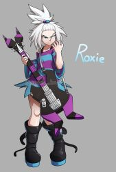 1girl, angry, arm up, artist name, bass guitar, black footwear, blue shirt, boots, bra strap, breasts, collarbone, commentary, commission, creatures (company), electric guitar, english commentary, english text, forehead, freckles, game freak, grey background, guitar, gym leader, hair bobbles, hair ornament, highres, holding, holding instrument, instrument, looking at viewer, nintendo, oversized clothes, oversized shirt, pokemon, pokemon (game), pokemon bw2, purple shirt, roxie (pokemon), sanpaku, shiny, shiny skin, shirt, short sleeves, signature, simple background, small breasts, solo, spark bag, striped, striped shirt, topknot, tsurime, twitter username, two-tone shirt, white hair