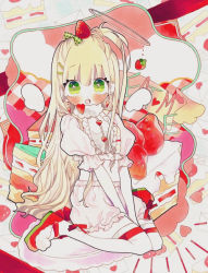 1girl, blonde hair, blush, crop top, food, food on head, frilled shirt, frilled shorts, frilled sleeves, frills, fruit, fruit on head, green eyes, marker (medium), mimu togari, object on head, open mouth, original, puffy sleeves, shirt, shorts, solo, strawberry, symbol commentary, traditional media, white shirt, white shorts