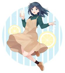 1girl, blue eyes, blue hair, brown dress, cup, dress, drinking glass, food, fruit, full body, green sweater, hair down, holding, holding cup, ice, ice cube, kantai collection, lemon, lemon slice, long hair, long sleeves, official alternate costume, shakemi (sake mgmgmg), solo, souryuu (kancolle), sweater