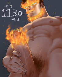Rule 34 | 1boy, bara, beard, boku no hero academia, completely nude, erection, facial hair, fire, from below, highres, large pectorals, male focus, male masturbation, male pubic hair, masturbation, mature male, muscular, muscular male, navel, nude, pain-lucky777, penis, pubic hair, short hair, sideburns, solo, spiked hair, todoroki enji, veins, veiny penis
