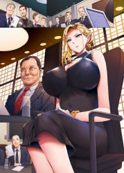 1girl, absurdres, bare shoulders, black dress, blonde hair, blue eyes, boss, bottle, bracelet, breasts, brown eyes, brown hair, chair, commentary request, covered navel, dress, earrings, formal, grey eyes, hair up, highres, indoors, jewelry, large breasts, looking at another, meeting, multiple boys, necktie, office, office lady, old, old man, open mouth, orico, original, paper, parted lips, piercing, pinstripe pattern, pinstripe suit, red neckwear, see-through, short hair, single sidelock, sitting, striped, stylus, suit, sweat, sweatdrop, table, updo, water bottle, window