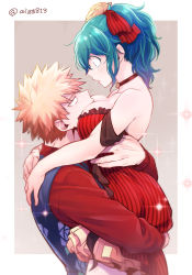1boy, 1girl, bakugou katsuki, bangs, bare shoulders, between breasts, black choker, black vest, blonde hair, boku no hero academia, breasts, choker, commentary request, dress, frilled dress, frills, from side, genderswap, genderswap (mtf), gradient, gradient background, green hair, hair ornament, hair ribbon, head between breasts, hetero, highres, holding another, hug, large breasts, lifting another, long sleeves, looking at another, looking down, looking up, midoriya izuku, open mouth, ponytail, red dress, red shirt, ribbon, shirt, short hair, sparkle, sparkle background, striped, striped dress, tonomayo, twitter username, upper body, vest
