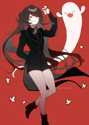 1girl, arm behind back, black nails, black shorts, boots, brown hair, bug, butterfly, butterfly on hand, eyebrows visible through hair, eyes closed, fang, flower, flower-shaped pupils, formal, genshin impact, ghost, grin, hu tao, insect, jacket, jewelry, long hair, long sleeves, nail polish, nana illust, open mouth, red background, red eyes, ring, shorts, simple background, skin fang, smile, solo, suit, symbol-shaped pupils, teeth, twintails, very long hair