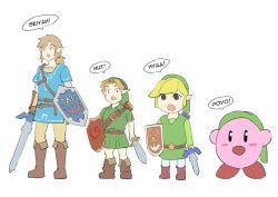 4boys, automatic giraffe, belt, blonde hair, blue tunic, blush stickers, boots, brown footwear, brown hair, cosplay, english text, green headwear, green tunic, harness, holding, holding shield, holding sword, holding weapon, kirby, kirby (series), knee boots, left-handed, leggings, link, link (cosplay), low ponytail, master sword, medium hair, multiple belts, multiple boys, multiple persona, nintendo, odd one out, pointy ears, scabbard, sheath, shield, short hair, speech bubble, super smash bros., sword, the legend of zelda, the legend of zelda: breath of the wild, the legend of zelda: ocarina of time, the legend of zelda: the wind waker, time paradox, toon link, weapon, young link