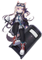 1girl, absurdres, animal ears, anklet, arknights, bare shoulders, blonde hair, cardigan (arknights), dog ears, dog girl, dog tail, highres, jewelry, ji mag (artist), long hair, looking at viewer, rhodes island logo, shield, shoes, shorts, smile, sneakers, solo, tail, thighhighs