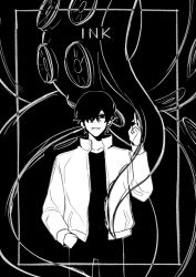 1boy, 1other, bangs, black background, black eyes, black hair, black legwear, black pants, black shirt, border, chainsaw man, claireiosity, collarbone, collared jacket, ear piercing, earrings, english text, eyebrows, hair between eyes, hair over one eye, hand in pocket, hand signs, highres, jacket, jewelry, long sleeves, looking at viewer, mole, mole under mouth, octopus, octopus devil, octopus tentacles, one eye covered, pants, piercing, shirt, short hair, sleeves past elbows, smile, teeth, tentacle, white border, white jacket, yoshida hirofumi