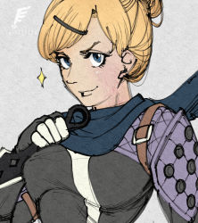 1girl, apex legends, blonde hair, blue eyes, blue scarf, bodysuit, breasts, cosplay, grey background, hair behind ear, hair bun, hair ornament, hairclip, holding, holding knife, knife, kunai, looking at viewer, medium breasts, scarf, smile, solo, sparkle, upper body, wattson (apex legends), weapon, wraith (apex legends), wraith (apex legends) (cosplay), yasutrella