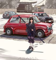 1girl, :d, animal ears, architecture, arknights, artist name, asama (drift in), black hair, car, commentary, dog ears, east asian architecture, english commentary, facial mark, forehead mark, full body, geta, ground vehicle, hand wraps, highres, holding, japanese clothes, kimono, knee pads, long hair, mini cooper, motor vehicle, open mouth, outdoors, pants, purple kimono, purple pants, saga (arknights), shadow, smile, solo, standing, white legwear, yellow eyes