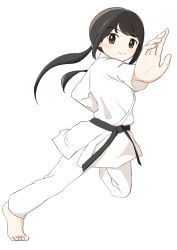 1girl, absurdres, artist request, bangs, barefoot, belt, black belt, black hair, brown eyes, dougi, feet, female focus, fighting stance, fingers, from side, full body, hair ornament, hands, happy, highres, idolmaster, idolmaster cinderella girls, karate gi, leg up, long hair, long image, long twintails, looking at viewer, low twintails, nakano yuka, namco, one leg up, simple background, smile, tall image, tiptoes, toes, twintails, white background