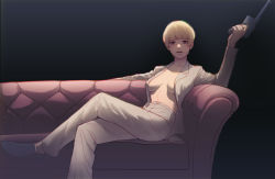 Rule 34   1girl, black background, black footwear, blonde hair, breasts, couch, gun, highres, holding, holding gun, holding weapon, legs crossed, long sleeves, open clothes, open shirt, pants, sam holiday, shingeki no kyojin, short hair, simple background, sitting, small breasts, solo, weapon, white pants, yelena (shingeki no kyojin)