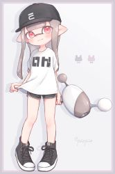 1girl, bangs, baseball cap, black headwear, black shorts, blunt bangs, blunt ends, border, closed mouth, commentary, cross-laced footwear, dolphin shorts, domino mask, eyebrows visible through hair, grey border, grey hair, hat, highres, holding, holding weapon, inkling, long hair, looking at viewer, luna blaster (splatoon), mask, nintendo, no socks, pink border, pioxpioo, pointy ears, print headwear, print shirt, red eyes, shadow, shirt, shirt hold, shoes, short shorts, short sleeves, shorts, smile, sneakers, solo, splatoon (series), splatoon 2, standing, t-shirt, tentacle hair, twitter username, weapon, white shirt