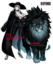 1girl, 1other, absurdres, animal, belt, black choker, black fur, blue eyes, breasts, character name, choker, cleavage, commentary, copyright name, desperado (yotaro), earrings, english commentary, english text, fishnet legwear, fishnets, formal, full body, hand on hip, high heels, highres, jacket, jacket on shoulders, jewelry, large breasts, leonardo (yotaro), lion, long legs, looking at viewer, mane, no bra, pale skin, pant suit, pinstripe pattern, plunging neckline, red eyes, scar, scar across eye, silver hair, slit pupils, solid eyes, standing, striped, suit, witch (yotaro), yotaro