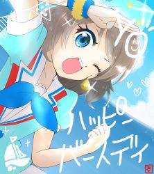 1girl, ;), absurdres, aozora jumping heart, aqua eyes, aqua neckwear, aqua shirt, artist name, artist request, bangs, birthday, blue bow, blue eyes, blue shirt, blue sky, blue wristband, blush, bow, breasts, brown hair, clenched hand, cloud, collarbone, day, earrings, female focus, grey hair, hair between eyes, hair bow, happy birthday, highres, jewelry, light brown hair, looking at viewer, love live!, love live! sunshine!!, medium breasts, multicolored bow, neckerchief, ocean, one eye closed, outdoors, parted bangs, sailor collar, salute, shirt, short hair, short sleeves, sky, small breasts, smile, solo, sparkle print, upper body, watanabe you, white bow, white sailor collar, wrist cuffs, wristband
