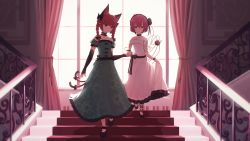 2girls, absurdres, adapted costume, alternate costume, animal ear fluff, animal ears, bangs, bare shoulders, black bow, black choker, black flower, black footwear, black hairband, black rose, blunt bangs, blurry, bow, braid, breasts, cat ears, cat tail, choker, cleavage, closed mouth, collarbone, commission, curtains, depth of field, dress, elbow gloves, extra ears, eyeball, eyebrows visible through hair, floral print, flower, full body, glaring, gloves, green dress, hair between eyes, hair bow, hair flower, hair ornament, hairband, heart, highres, indoors, jitome, kaenbyou rin, komeiji satori, long hair, looking at viewer, multiple girls, multiple tails, nekomata, off shoulder, petticoat, pink dress, pink eyes, pink hair, pointy ears, puffy short sleeves, puffy sleeves, railing, red eyes, red hair, rose, senzaicha kasukadoki, short hair, short sleeves, skirt hold, small breasts, smile, stairs, tail, tail bow, tail ornament, third eye, touhou, twin braids, twintails, two tails, walking, window