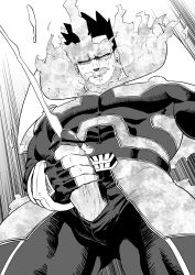 Rule 34 | 1boy, abs, bar censor, bara, beard, bodysuit, boku no hero academia, censored, covered abs, covered navel, cum, ejaculation, erection, facial hair, fire, from below, gluteal fold, greyscale, hairy, highres, large pectorals, leg hair, male focus, male masturbation, masturbation, mature male, monochrome, muscular, muscular male, pain-lucky777, projectile cum, scar, scar across eye, short hair, sideburns, solo, spiked hair, thick thighs, thighs, todoroki enji, veins