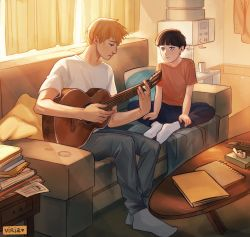 2boys, artist name, bare arms, black eyebrows, black eyes, black hair, blanket, blue legwear, blue pants, book, bowl cut, closed book, closed mouth, couch, curtains, denim, eyebrows, fingernails, fingers, guitar, hands, highres, holding, holding instrument, instrument, jeans, kageyama shigeo, legs apart, legs crossed, legs together, looking at another, male focus, mob psycho 100, multiple boys, notebook, orange hair, pale skin, pants, pillow, red shirt, reigen arataka, shirt, short hair, short sleeves, sitting, socks, sunlight, t-shirt, table, twitter username, viria13, water, watermark, white shirt, window